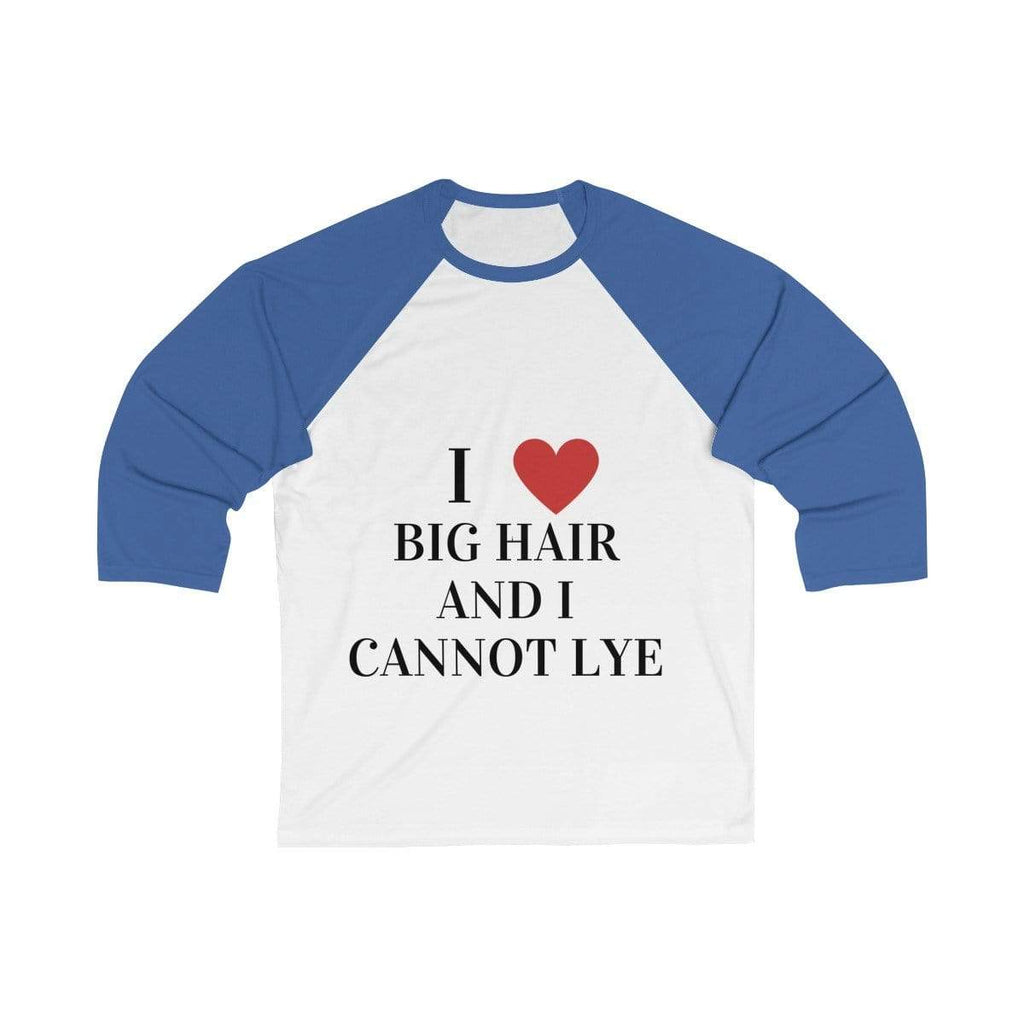 Printify Long-sleeve White/ True Royal / S Big Hair Baseball Shirt