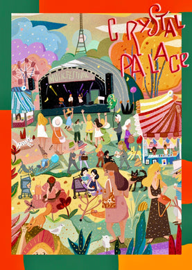 Crystal Palace Festival South London illustration summer music party garden flowers park local art poster print wall decor