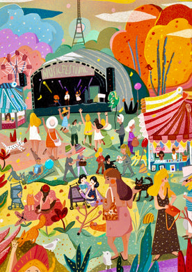 Music festival illustration poster art print wall decor