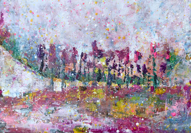 Vicenza, Veneto, Italy Pink Landscape acrylic colourful abstract art painting poster print wall pattern decor