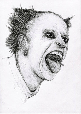 Keith Flint of the Prodigy pen drawing fan art portrait print poster wall decor