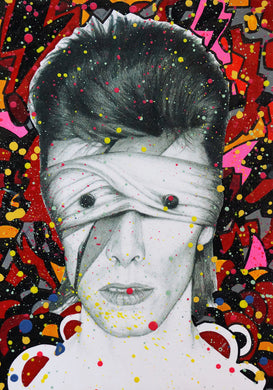 David Bowie Lazarus Aladdin Sane Abstract painting on charcoal pencil drawing version 3 fine art fan art print wall decor