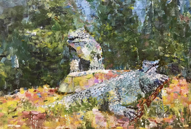 Crystal Palace Dinosaurs South London acrylic colourful abstract art painting poster print wall pattern decor
