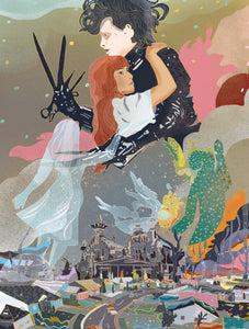Edward and Kim - Johnny Depp and Winona Ryder from Edward Scissorhands illustration poster art print wall decor