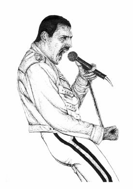 Freddie Mercury Live Aid pen drawing fan art portrait print poster wall decor