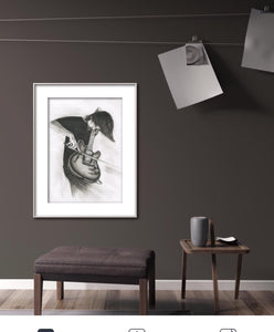 RADIOHEAD' s Johnny Greenwood charcoal portrait pencil drawing black and white print wall decor