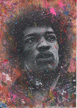 "Load image into Gallery viewer, Jimi Hendrix ""Fire""  Splattered Paint Version of charcoal portrait drawing fine art wall decor"