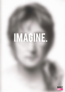 "John Lennon ""IMAGINE"" Graphic Design poster based on original charcoal drawing portrait print"