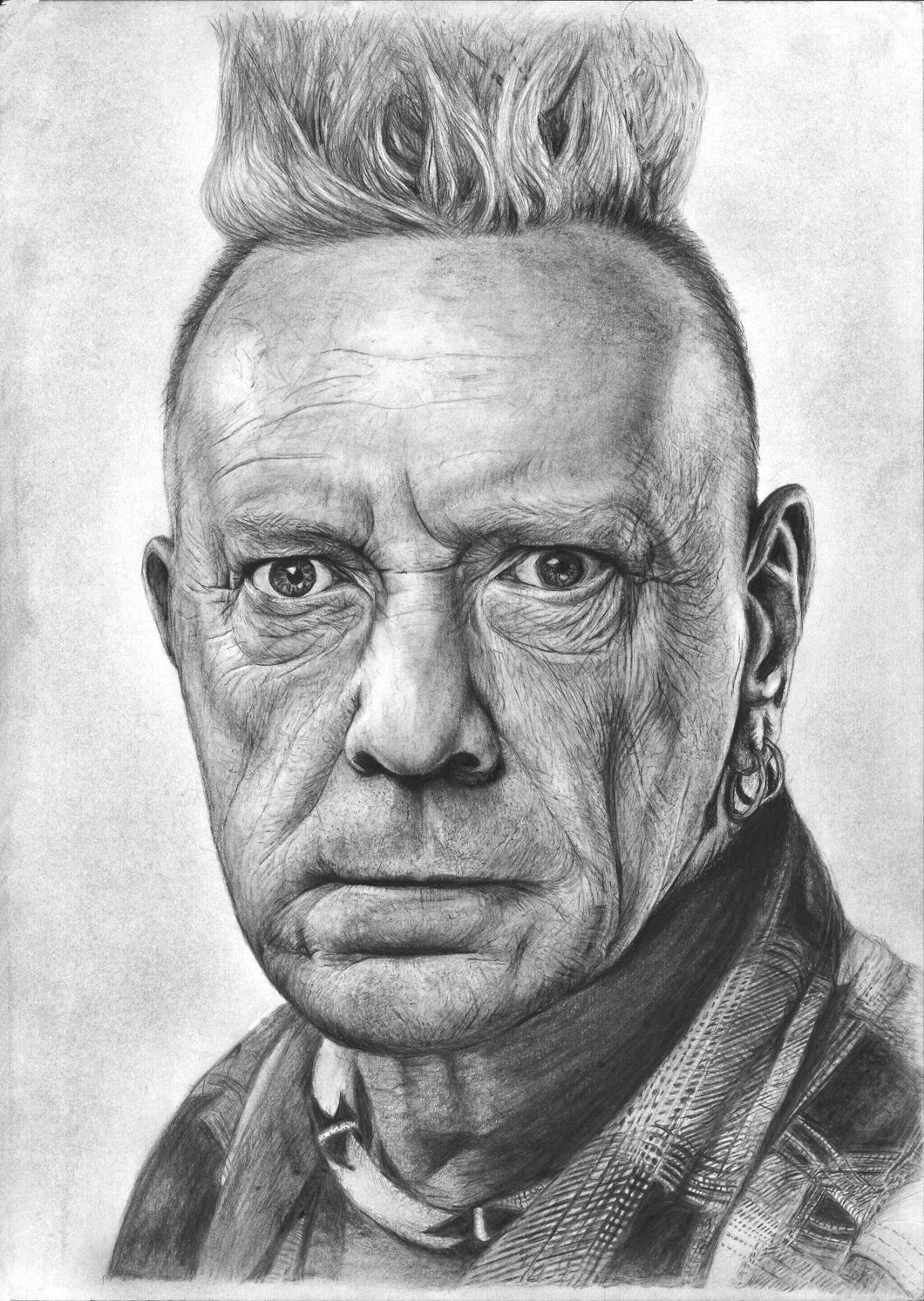 John Lydon aka Johnny Rotten of Sex Pistols and P.I.L charcoal portrait drawing print wall decor