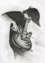 Load image into Gallery viewer, RADIOHEAD' s Johnny Greenwood charcoal portrait pencil drawing black and white print wall decor