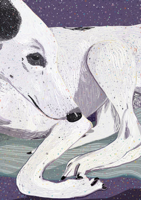 Lady - Greyhound dog digital art drawing illustration poster art print wall decor
