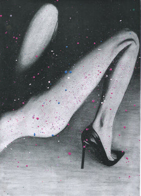 Legs splattered paint version of black and white charcoal drawing erotic sexy art poster print wall decor
