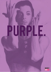 "Prince ""PURPLE"" Graphic Design poster based on original charcoal drawing portrait print"