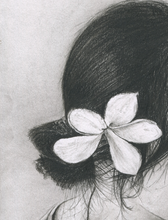 Load image into Gallery viewer, Flower girl charcoal pencil portrait drawing print fine art wall decor