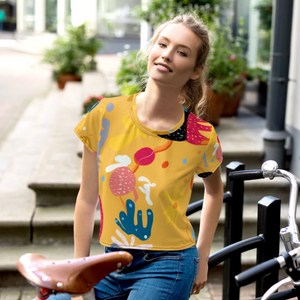 Abstract Yellow All-Over Print Crop Tee