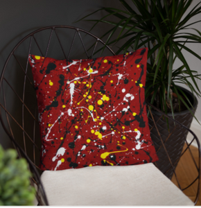 Abstract Red Single-sided cushion