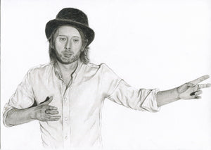RADIOHEAD' s Thom Yorke charcoal portrait from Lotus Flower video pencil drawing black and white print wall decor