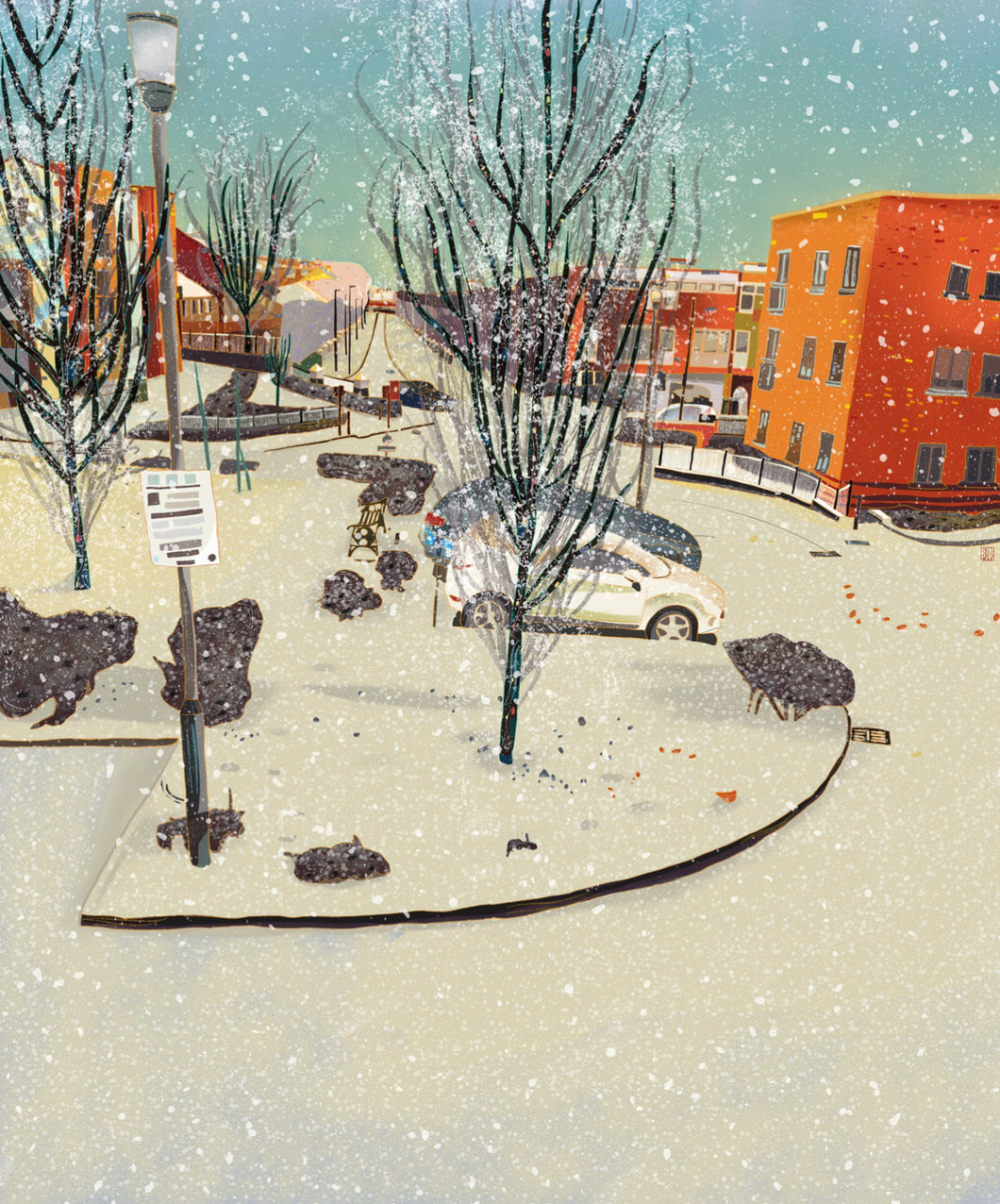 Wintry Tannoy Square local art illustration poster print wall decor