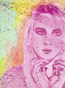"Billie Eilish ""Ocean Eyes"" colour portrait drawing print wall decor"