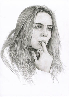 Billie Eilish charcoal portrait drawing print wall decor