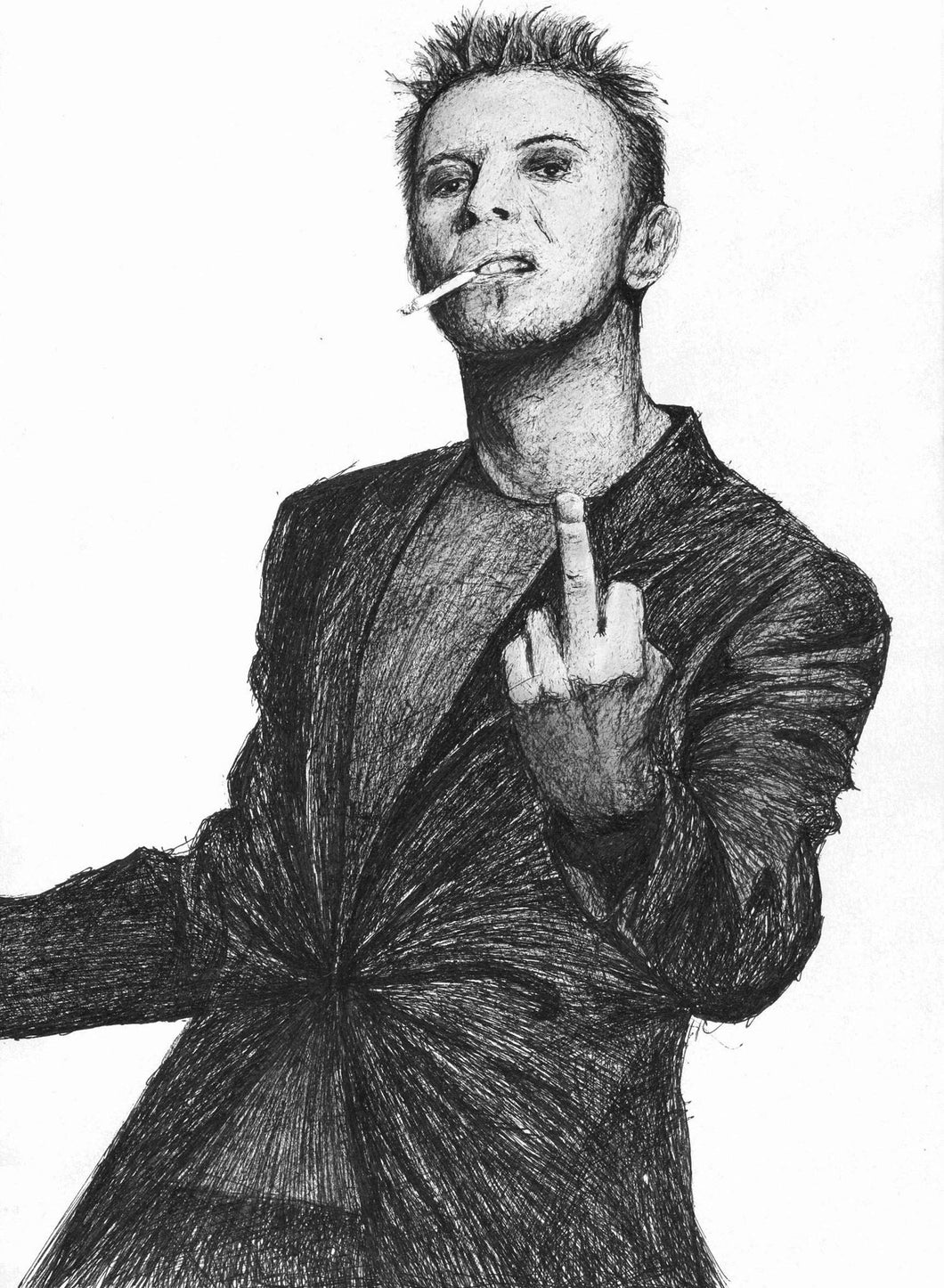 David Bowie middle finger up yours fuck you series pen drawing portrait print fan art poster