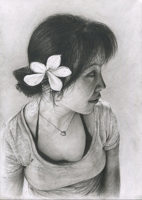 Flower girl charcoal pencil portrait drawing print fine art wall decor