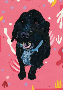 Henry - cockapoo dog- pink and black digital art drawing illustration poster art print wall decor