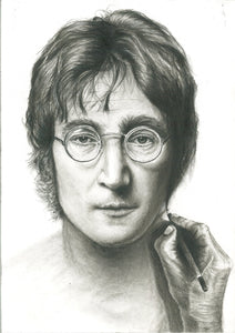 John Lennon Give ART a chance charcoal pencil portrait drawing beatles fan art print poster wall decor