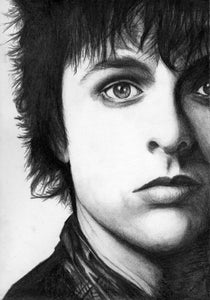 Green Day Singer Billie Joe Armstrong charcoal portrait drawing print wall decor