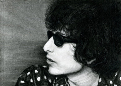 Bob Dylan 60s blonde on blonde era charcoal portrait polka dot black and white print wall decor