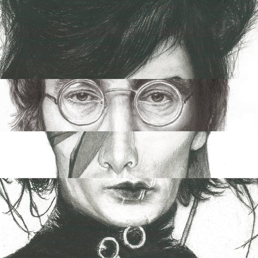 Collage of Amy Winehouse John Lennon David Bowie Edward Scissorhands poster