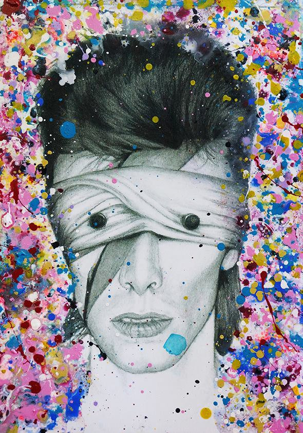 David Bowie Lazarus Aladdin Sane Abstract painting on charcoal pencil drawing version 1 fine art fan art print poster wall decor
