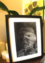 Load image into Gallery viewer, David Bowie Lazarus Black star black and white charcoal portrait pencil drawing wall decor print