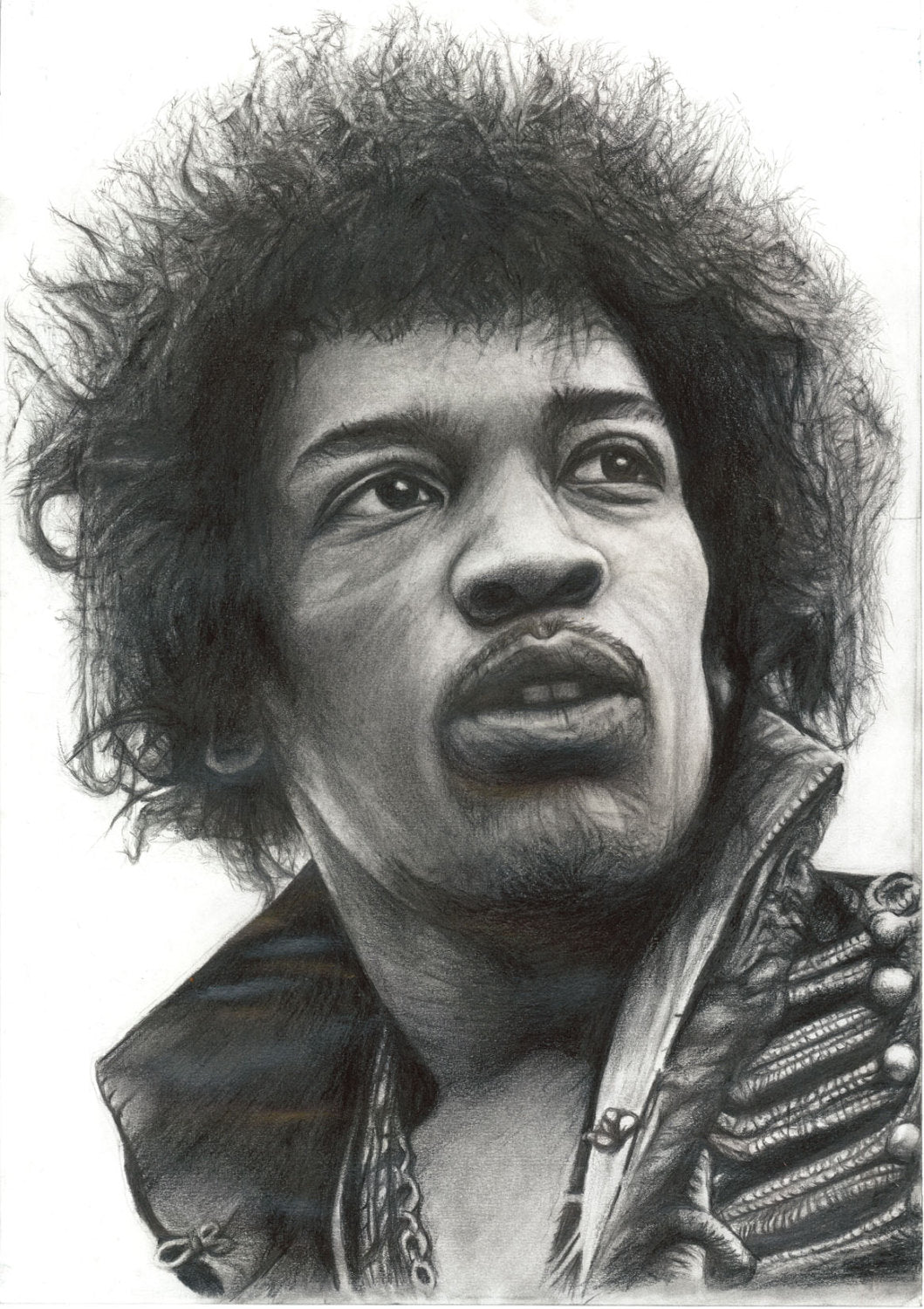Jimi Hendrix Excuse me while i kiss the sky charcoal portrait pencil drawing black and white print wall decor