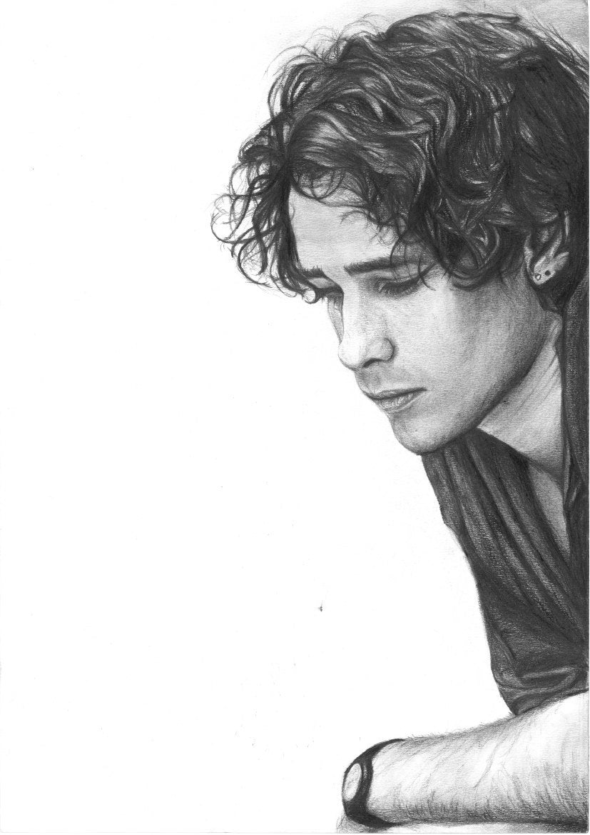 Jeff Buckley Grace black and white charcoal pencil portrait drawing tribute fan art print poster wall decor