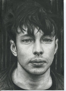 "Barns Courtney ""Glitter and Gold"" black and white charcoal pencil portrait drawing fine art print"
