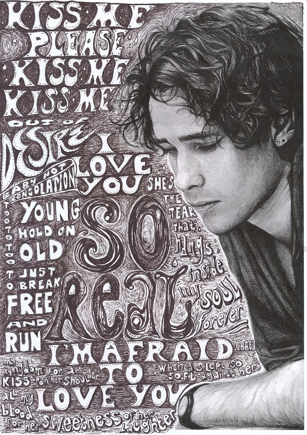 Jeff Buckley charcoal portrait drawing and illustration including lyrics from Grace tribute fan art wall decor print