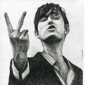 Jarvis Cocker lead singer from 90s britpop band Pulp middle finger up yours fuck you series pen drawing portrait print fan art poster