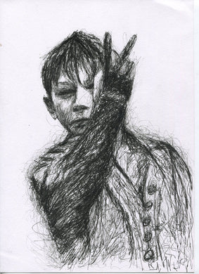 ken loach's Kes film poster black and white middle finger up yours fuck you series pen drawing fan art portrait