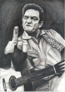 "Johnny Cash man in black ""I DRAW the Line"" middle finger san quentin black and white charcoal drawing poster print fan tribute art"