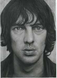 Richard Ashcroft singer from 90s britpop band the verve black and white charcoal portrait pencil drawing fan art poster print wall decor