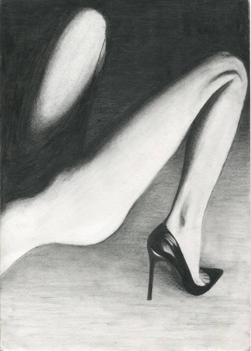 Legs black and white charcoal drawing erotic art high heel stiletto print poster wall decor