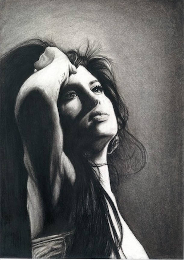 Amy Winehouse tears dry on their own black and white charcoal portrait drawing fan tribute art print poster wall decor