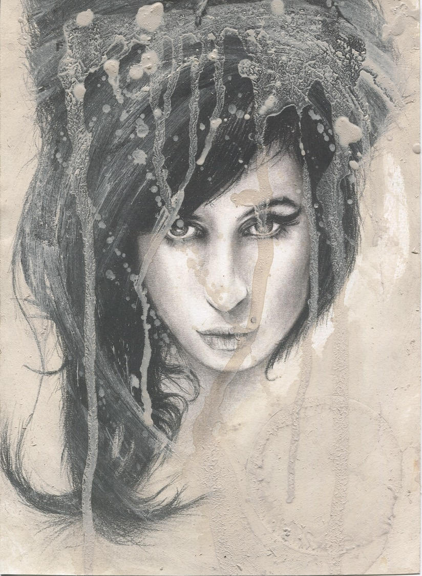 Amy Winehouse wine stained black and white charcoal portrait drawing fan tribute art print poster