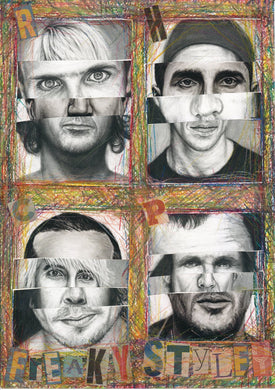 RHCP Red Hot Chili Peppers Freaky Styley Abstract Collage from original Charcoal Portrait drawings of Anthony, Flea John and Chad!!!