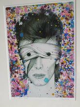 Load image into Gallery viewer, Mounted, wrapped and HANDSIGNED LIMITED EDITION David Bowie Aladdin Sane as Lazarus black and white charcoal drawing portrait print