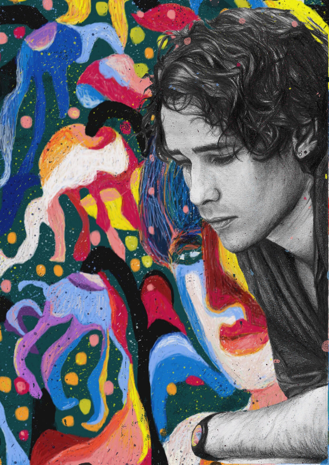Jeff Buckley Grace black and white charcoal pencil portrait drawing abstract colour version tribute fan art print