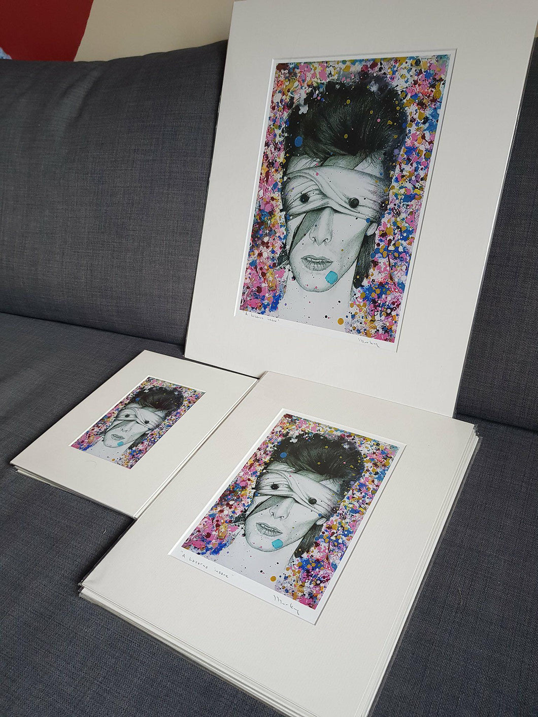 Mounted, wrapped and HANDSIGNED LIMITED EDITION David Bowie Aladdin Sane as Lazarus black and white charcoal drawing portrait print