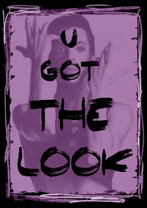 "Prince ""U Got The Look"" purple poster based on charcoal portrait drawing print tribute fan art fine art wall decor"
