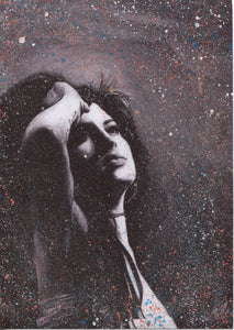 "Amy Winehouse Splattered Paint Version 1 ""tears dry on their own"" black and white charcoal portrait drawing fan tribute art print poster"